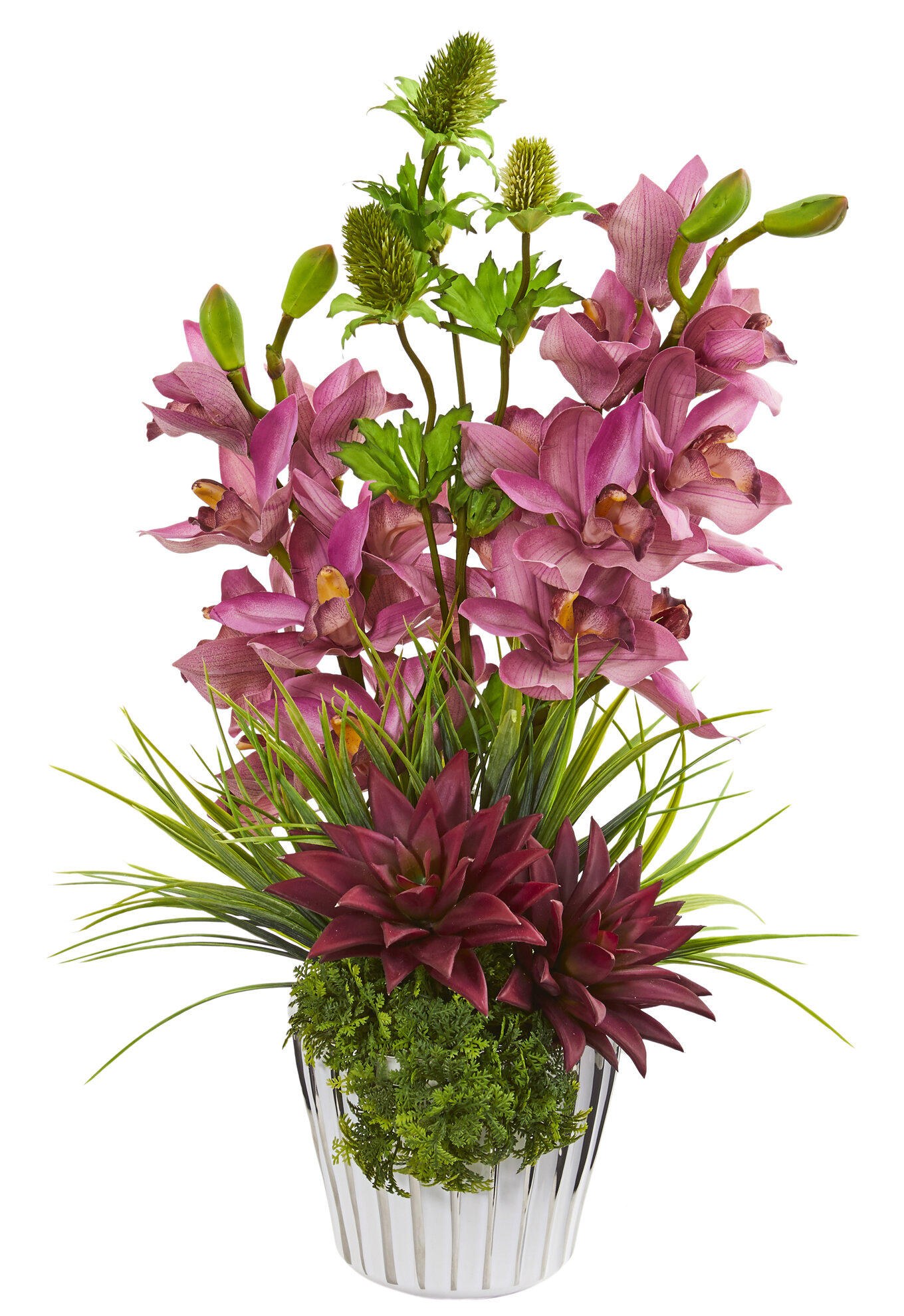 Wrought Studio Cymbidium Orchid Agave And Thistle Artificial Mixed Floral Arrangement In Vase Wayfair