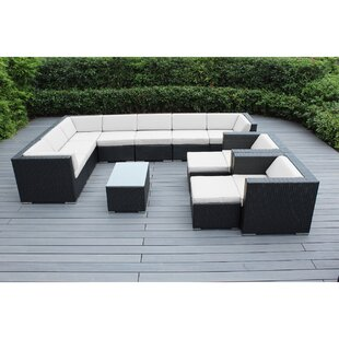 Bayou Breeze Konen 12 Piece Rattan Sectional Set with Cushions