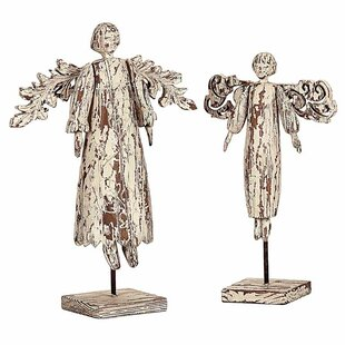 Knott 2 Piece Resin Angels On Stand Figurine Set