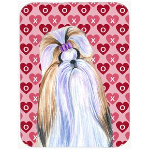 Valentine Hearts Shih Tzu Hearts Love and Valentine's Day Portrait Glass Cutting Board By Caroline's Treasures