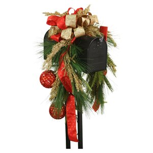 Mailbox Saddle Pine and Fir Boughs Seed Berries Ornaments and Ribbon Swag