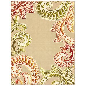 Bennett Floral Paisley Beige/Orange Indoor/Outdoor Area Rug