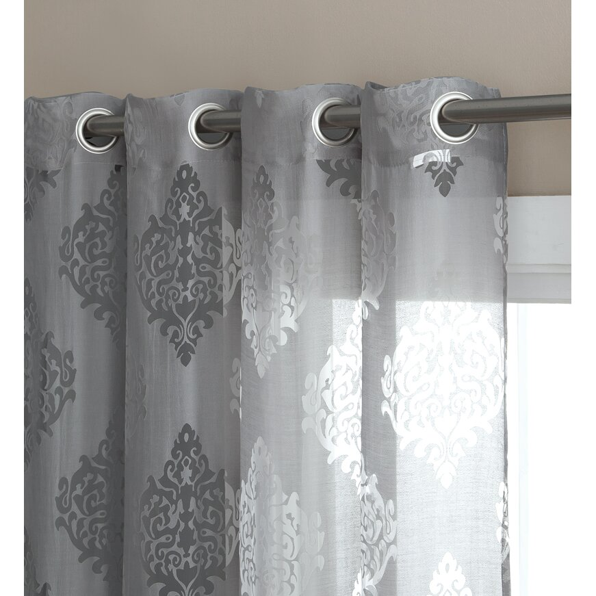 HLC.ME Adel Damask Sheer Grommet Curtain Panels Reviews Wayfair.ca