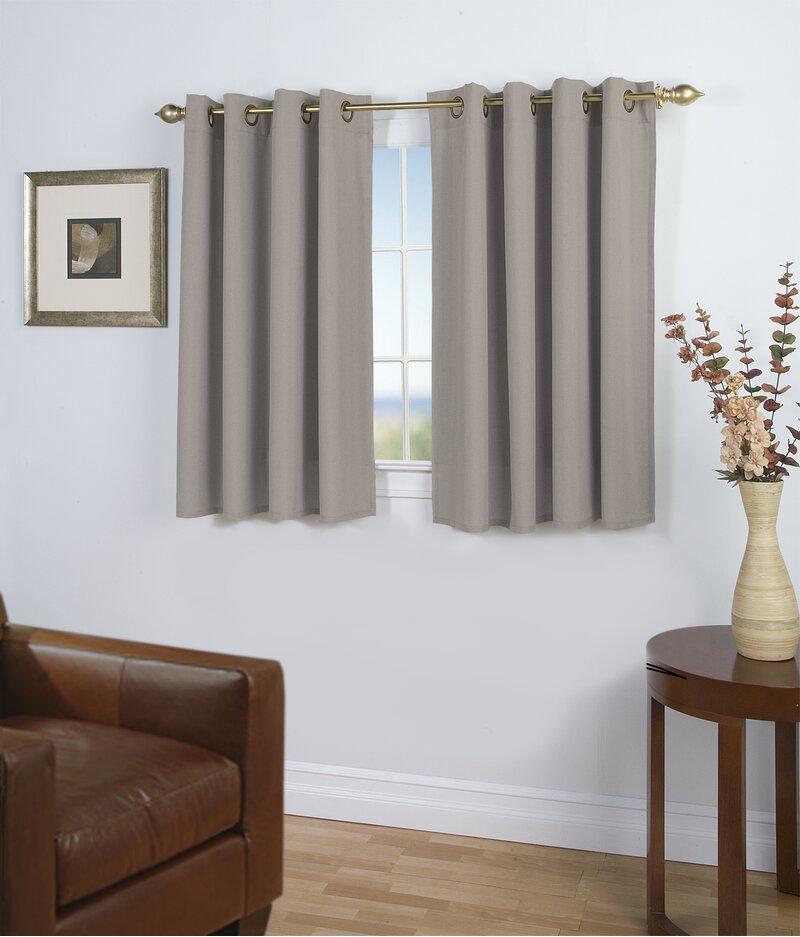 Latitude Run Saffold Solid Semi Sheer Grommet Single Short Curtain