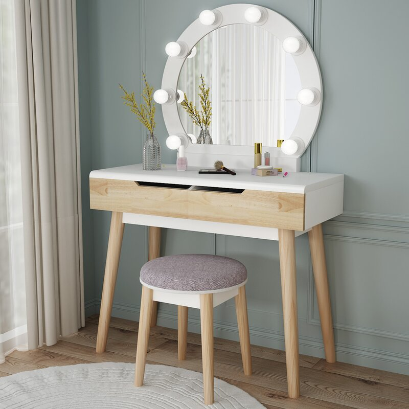 George Oliver Samuel Vanity Set With Stool And Mirror Reviews Wayfair