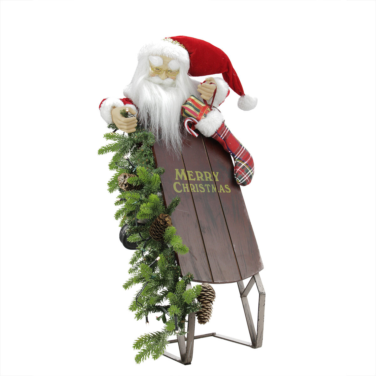 northlight battery operated lighted musical santa claus with sleigh christmas decoration wayfair