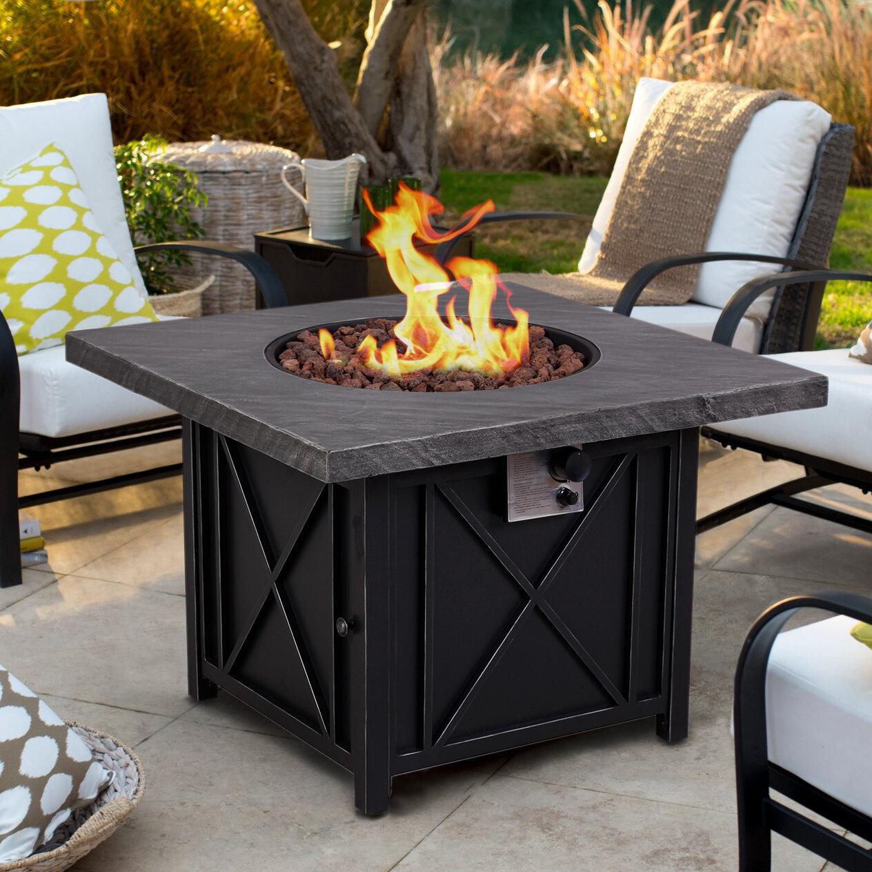 Freeport Park Melaina Slate Look Iron Propane Fire Pit Table Wayfair