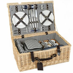 Cheltenham Willow Picnic Hamper For Four People By Beachcrest Home