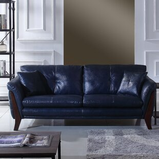 Makeba Mid-Century Modern Real Leather Sofa