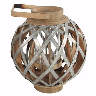 Gracie Oaks Charmingly Designed Round Wood Lantern