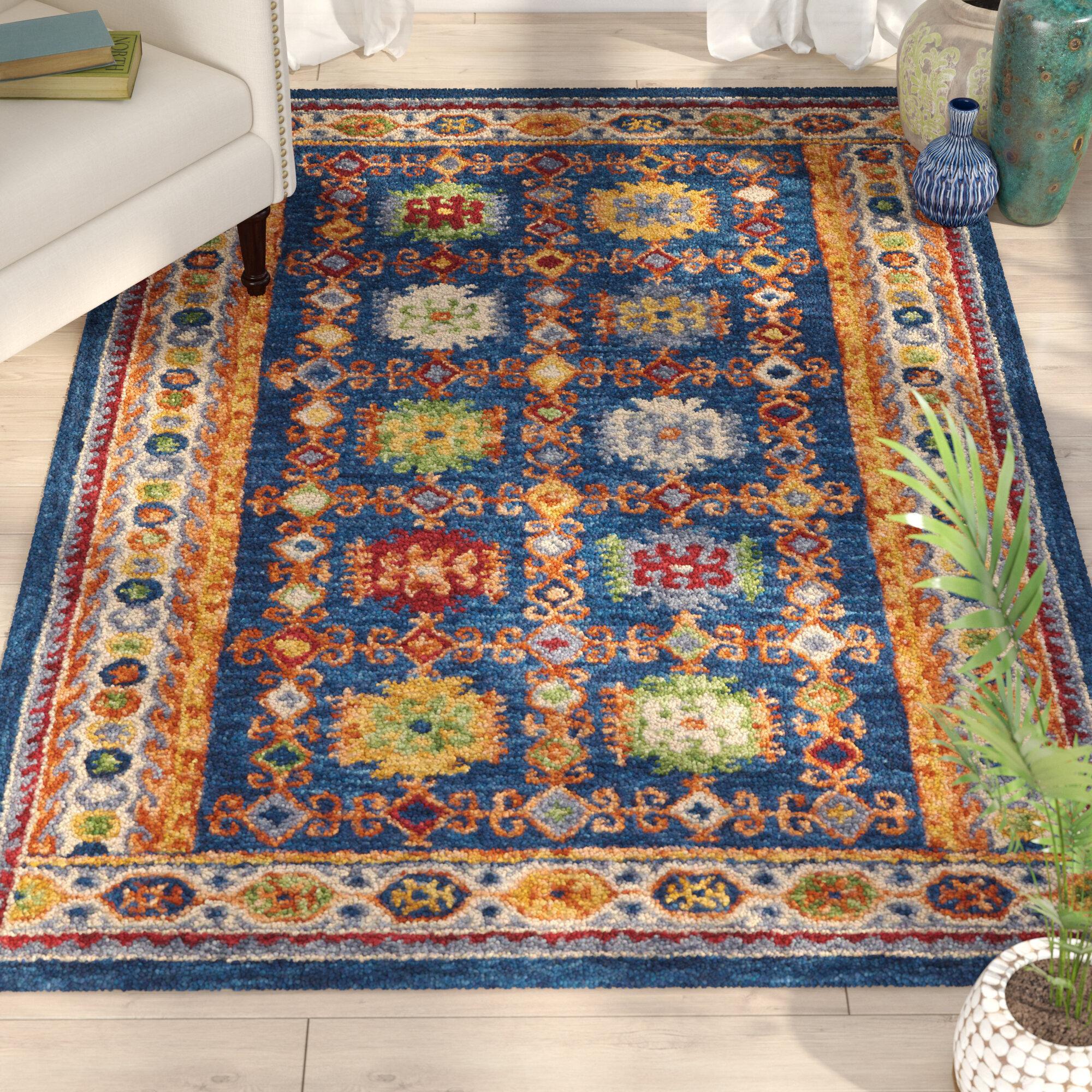 gray wrought frame navy white catalog rug studio area aptdeco handmade blue roush