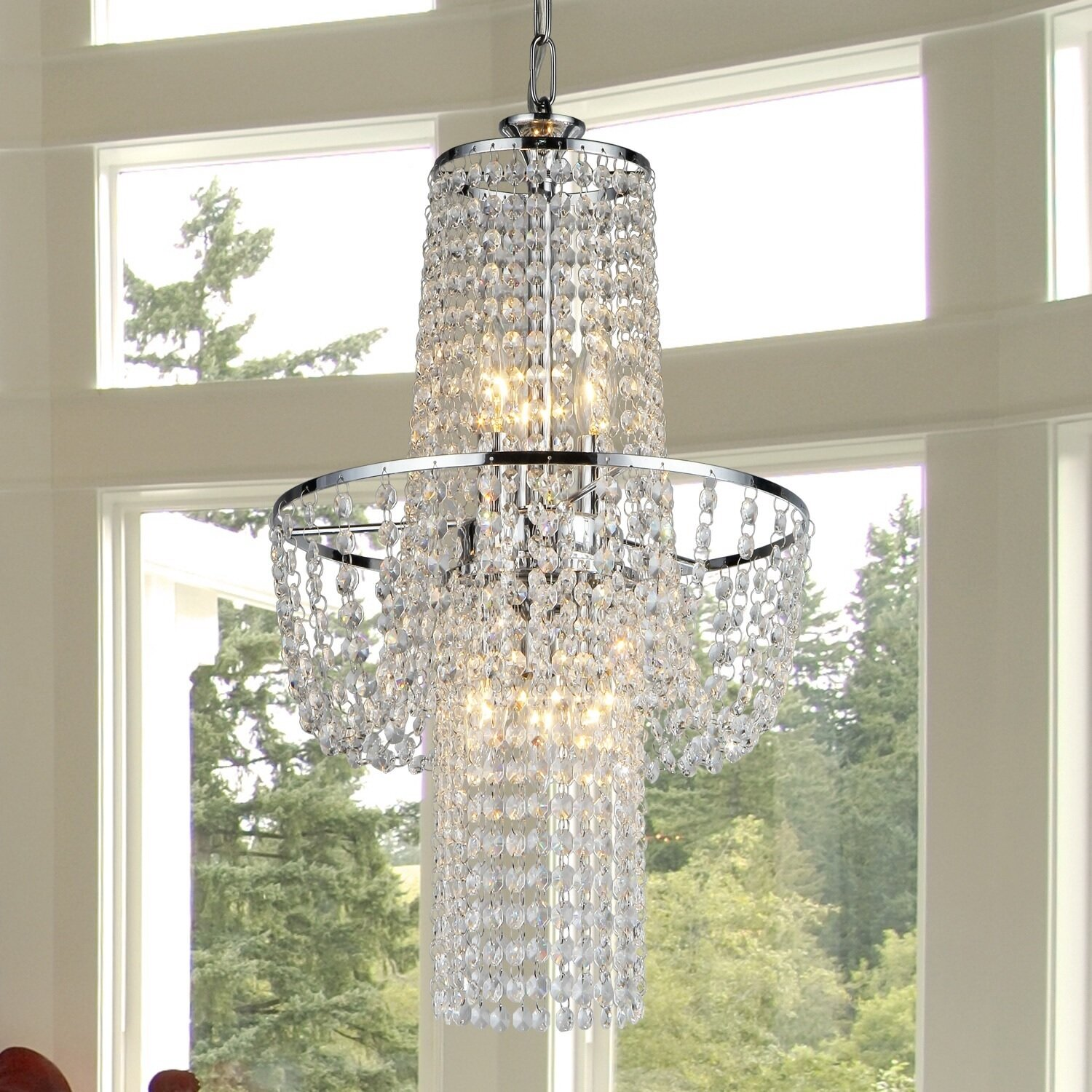 tools droplets lamp glass finish homcom new crystal modern diy chrome amazon ceiling uk co dp light pendant chandelier lighting