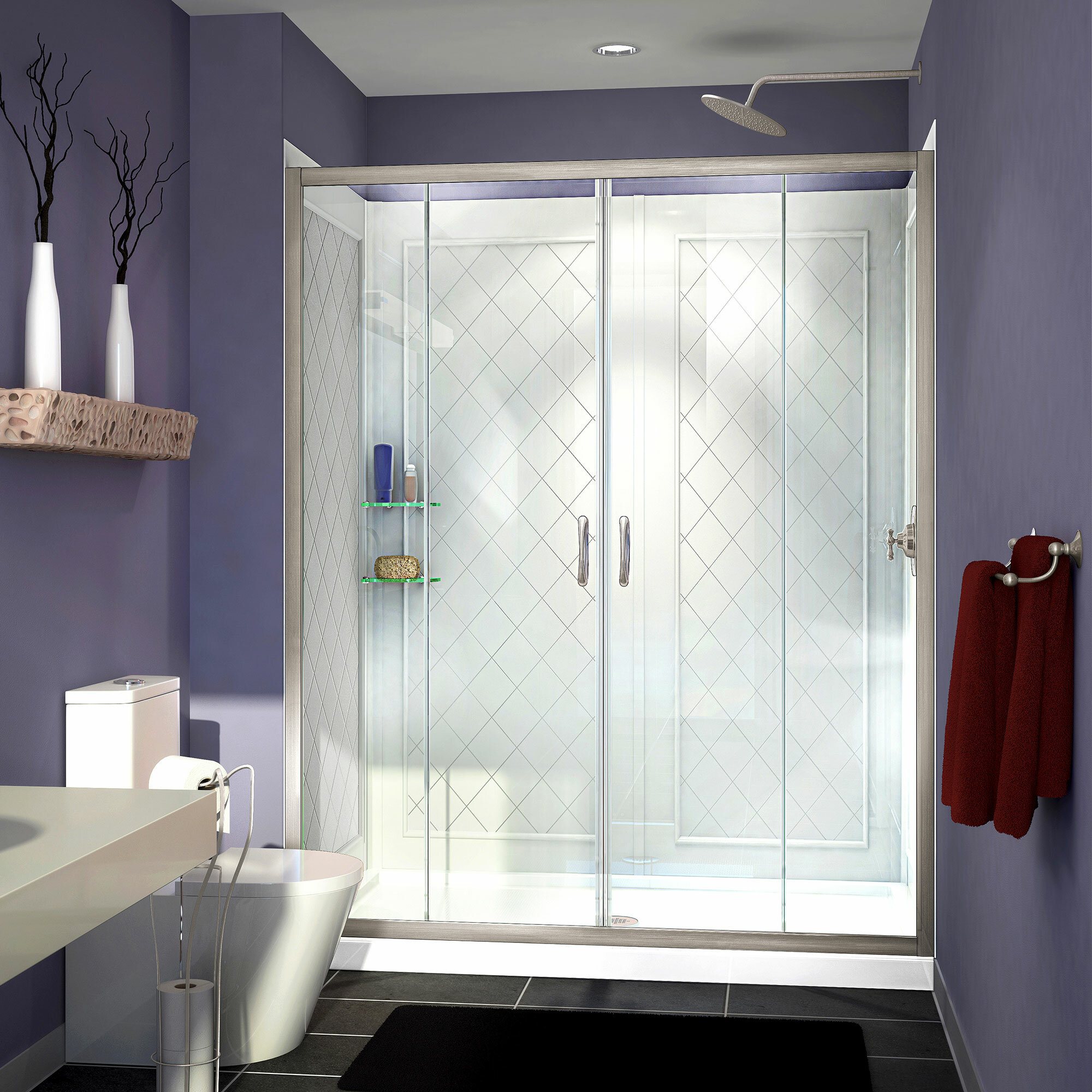 Dreamline Visions 60 X 36 X 76 75 Sliding Frameless Shower Door Wayfair