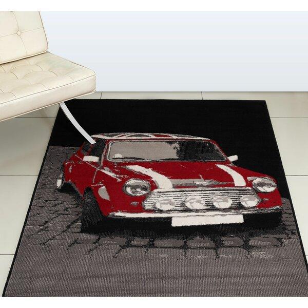 Retro Mini car short pile rug mat non slip gel back green black brand new