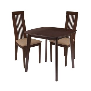 Nero 3 Piece Solid Wood Dining Set by Ebern Designs