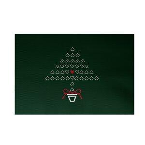 Hearty Holidays Decorative Holiday Print Dark Green Indoor/Outdoor Area Rug