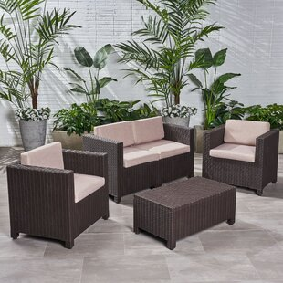 Lubuklinggau 4 Multiple Chairs Seating Group with Cushions