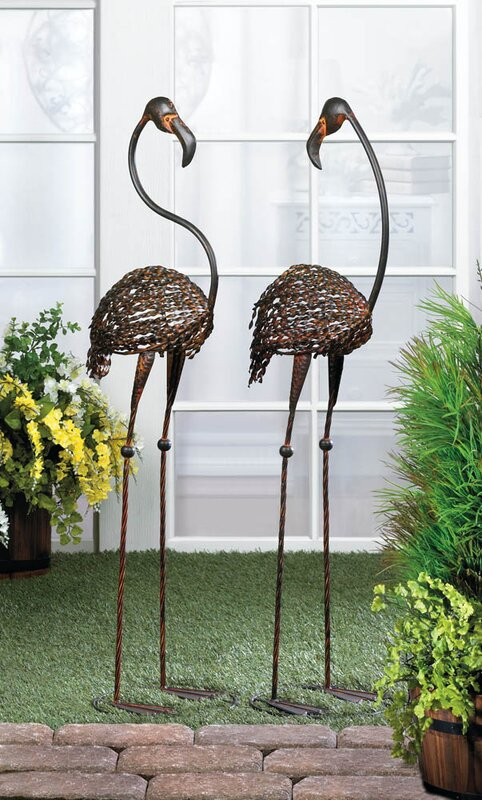 Awesome 2 Piece Wild Flamingo Garden Statue Set