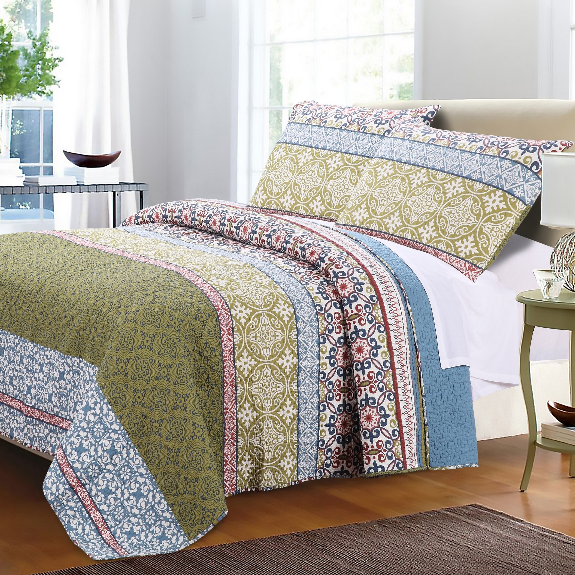 red bedding oriental product quilt floral cotton set cherry japanese branches cover style print duvet blossom
