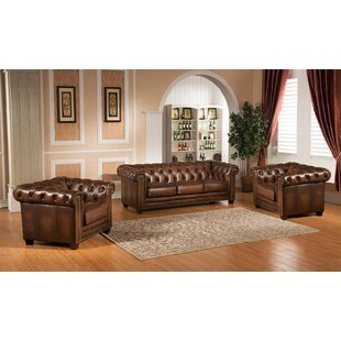 Price comparison Dusty 3 Piece Leather Living Room Set by Canora Grey Reviews (2019) & Buyer's Guide