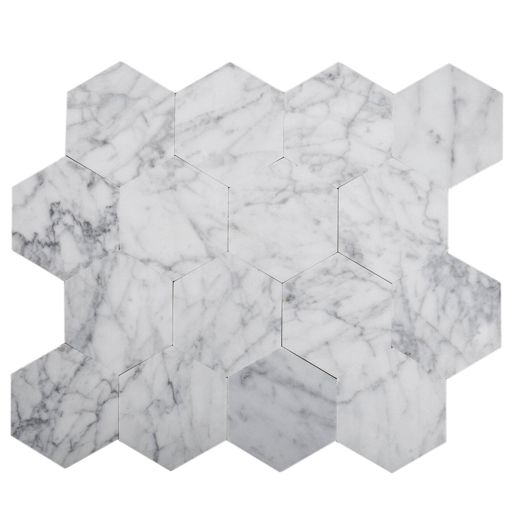Tile Club Carrara 9 X 10 Natural Stone Peel Stick Mosaic Tile Wayfair