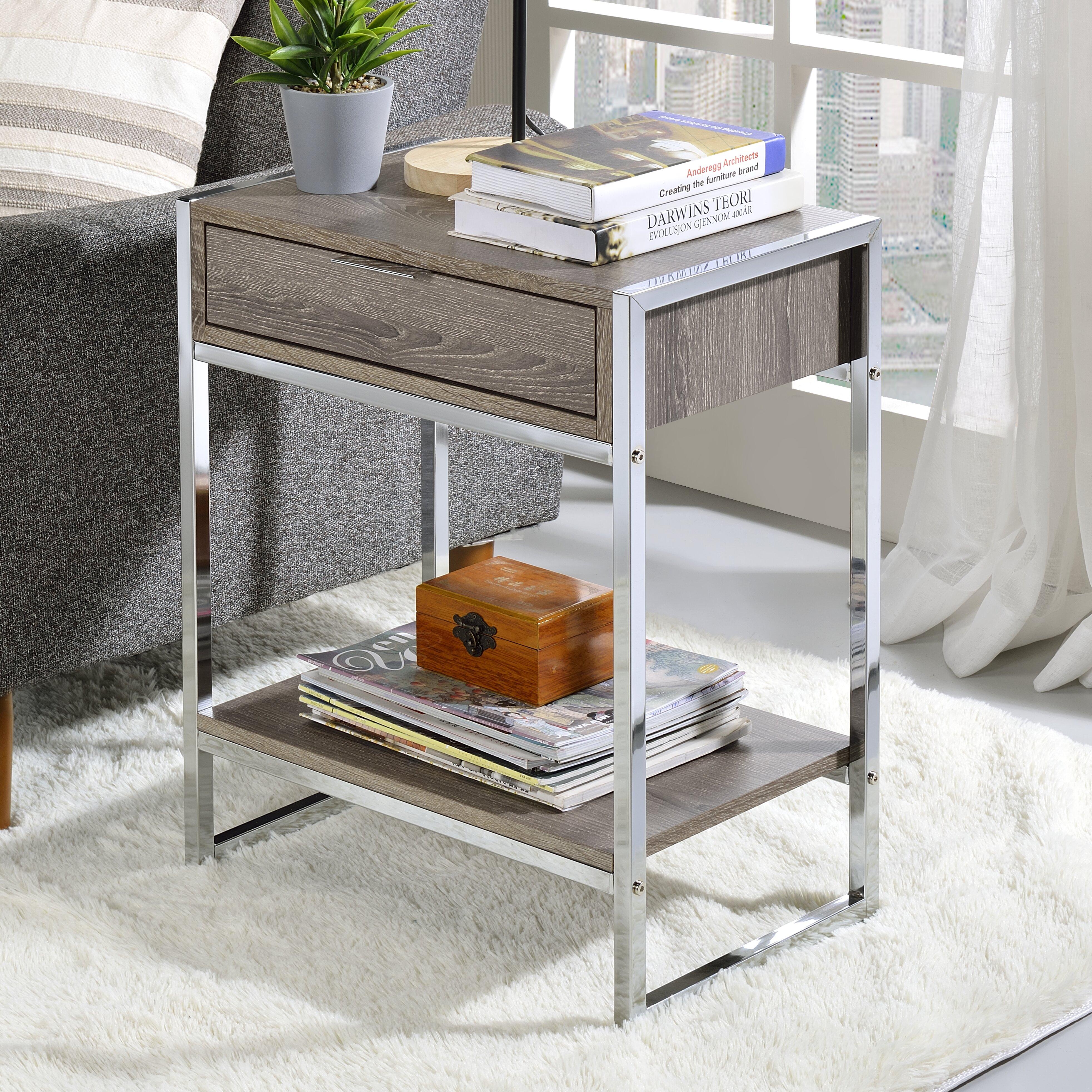 Orren Ellis Zaltbommel Sled End Table With Storage Wayfair