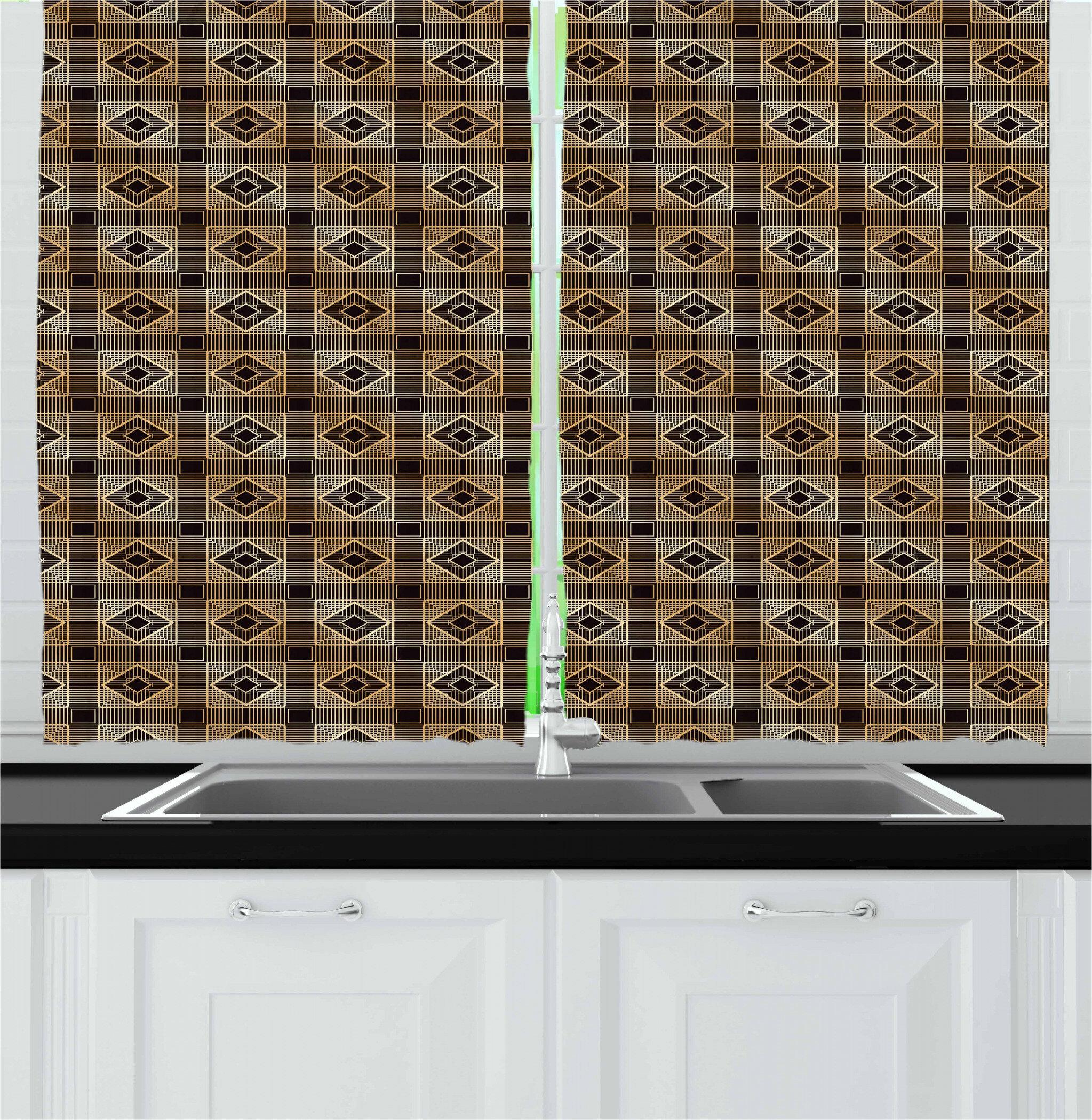 East Urban Home Art Deco Kitchen Curtain Wayfair