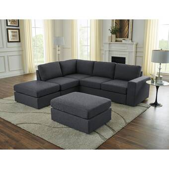 Andover Mills Pawnee 84 Symmetrical Corner Sectional With Ottoman Reviews Wayfair
