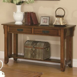 Alday Transitional Style Slated Wooden Console Table