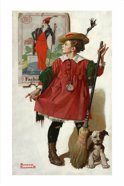 'The Little Model #2' by Norman Rockwell Graphic Art on Wrapped Canvas