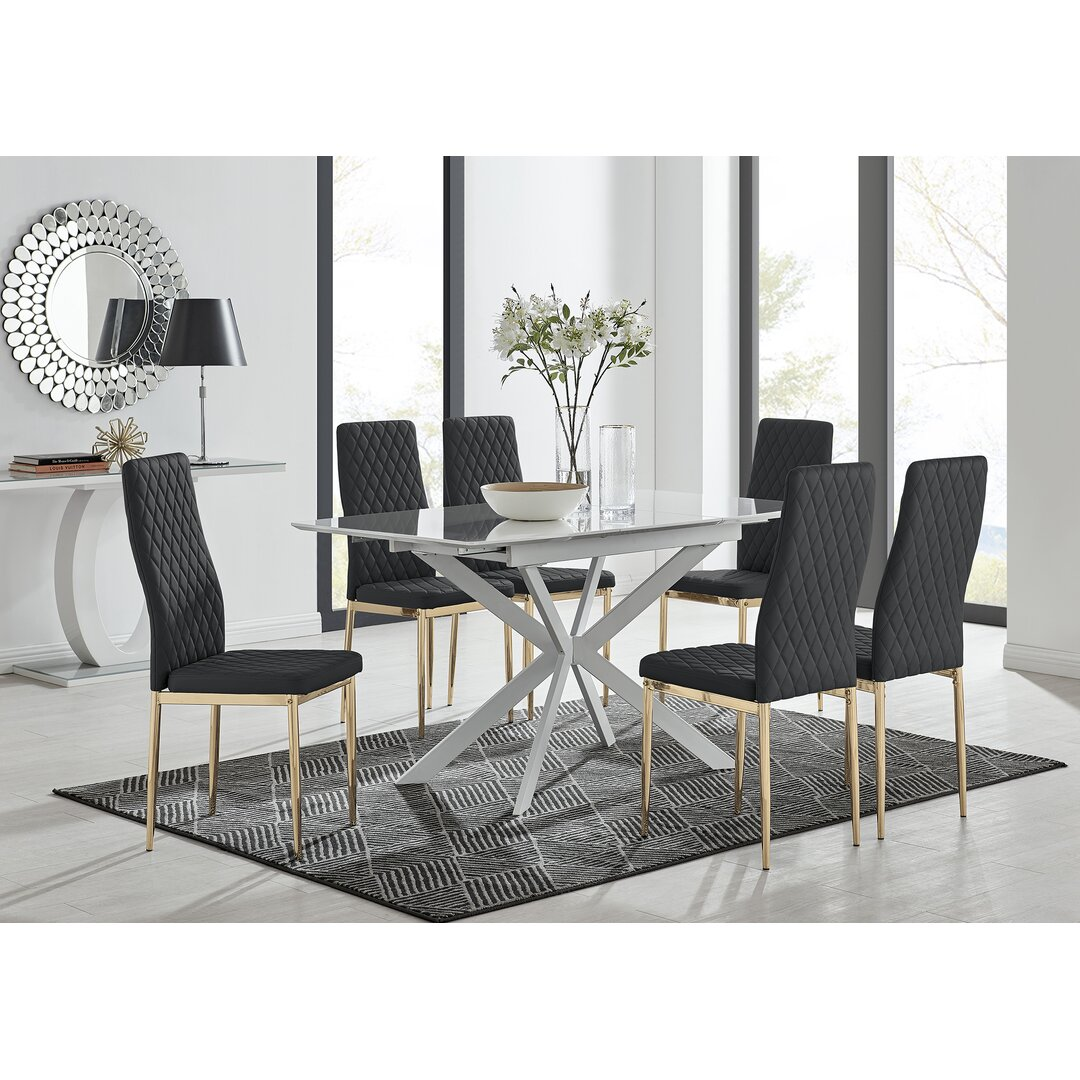 LIRA 120 Extending Dining Table And 6 White Milan Chairs