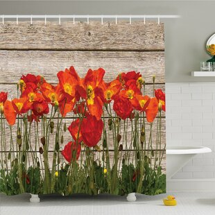 Rustic Home Poppy Petals Field Meadow Summer Sun Plant Floral Shower Curtain Set