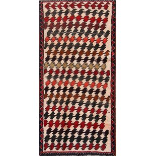 One-of-a-Kind Janssen Classical Modern Gabbeh Shiraz Persian Hand-Knotted 2'3 x 4'11 Wool Beige/Red/Black Area Rug Isabelline