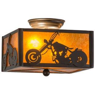 Meyda Tiffany Motorcycle 2-Light Flush Mount