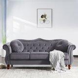 Snedeker Velvet 65 Rolled Arm Loveseat by House of Hampton®