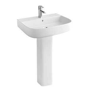 Read Reviews Emma Ceramic 24 Pedestal Bathroom Sink with Faucet and Overflow By Bissonnet