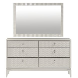 House of Hampton Amelio 6 Drawer Double Dresser with Mirror