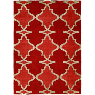 Viraj Hand Knotted Wool Red Area Rug ByDarby Home Co