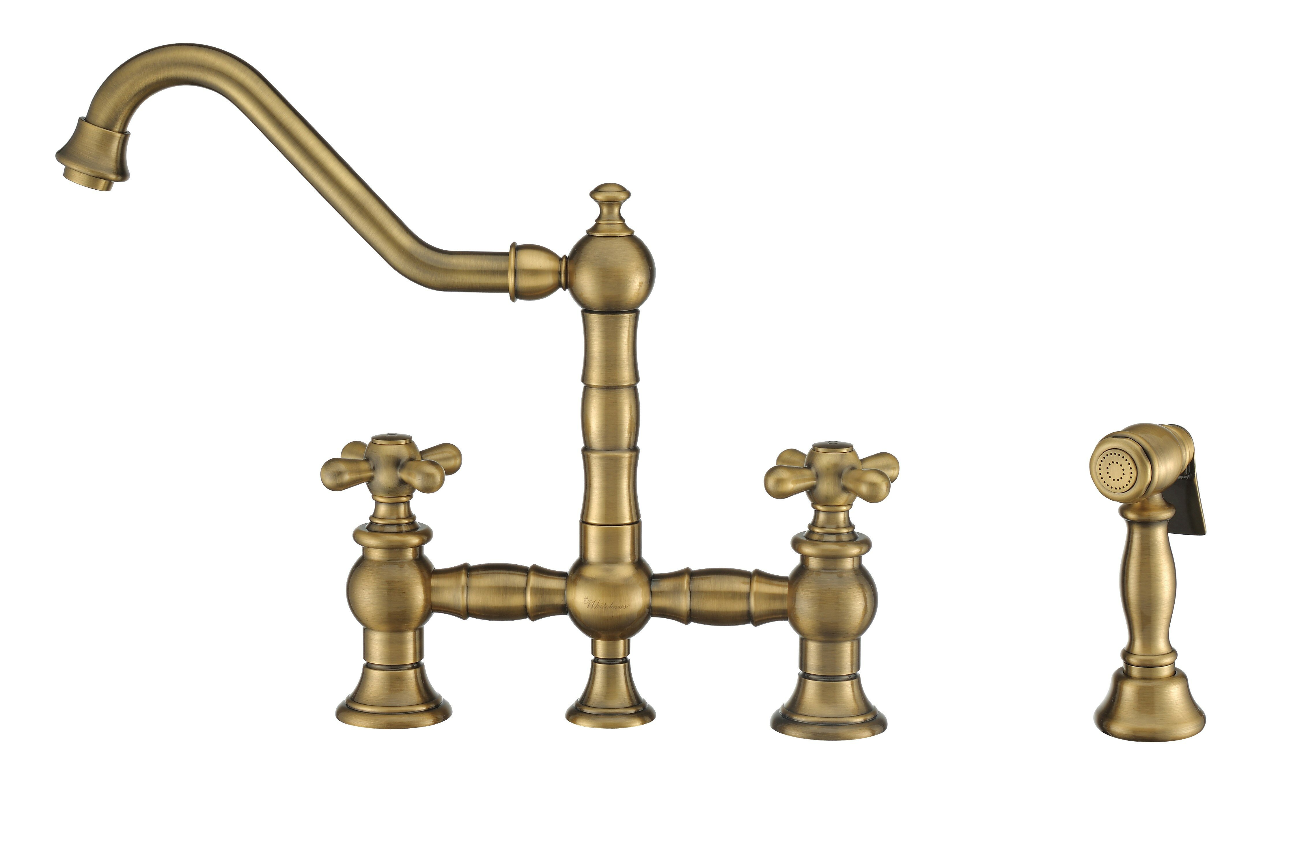 Whitehaus Collection Vintage Iii Plus Bridge Faucet With Side Spray