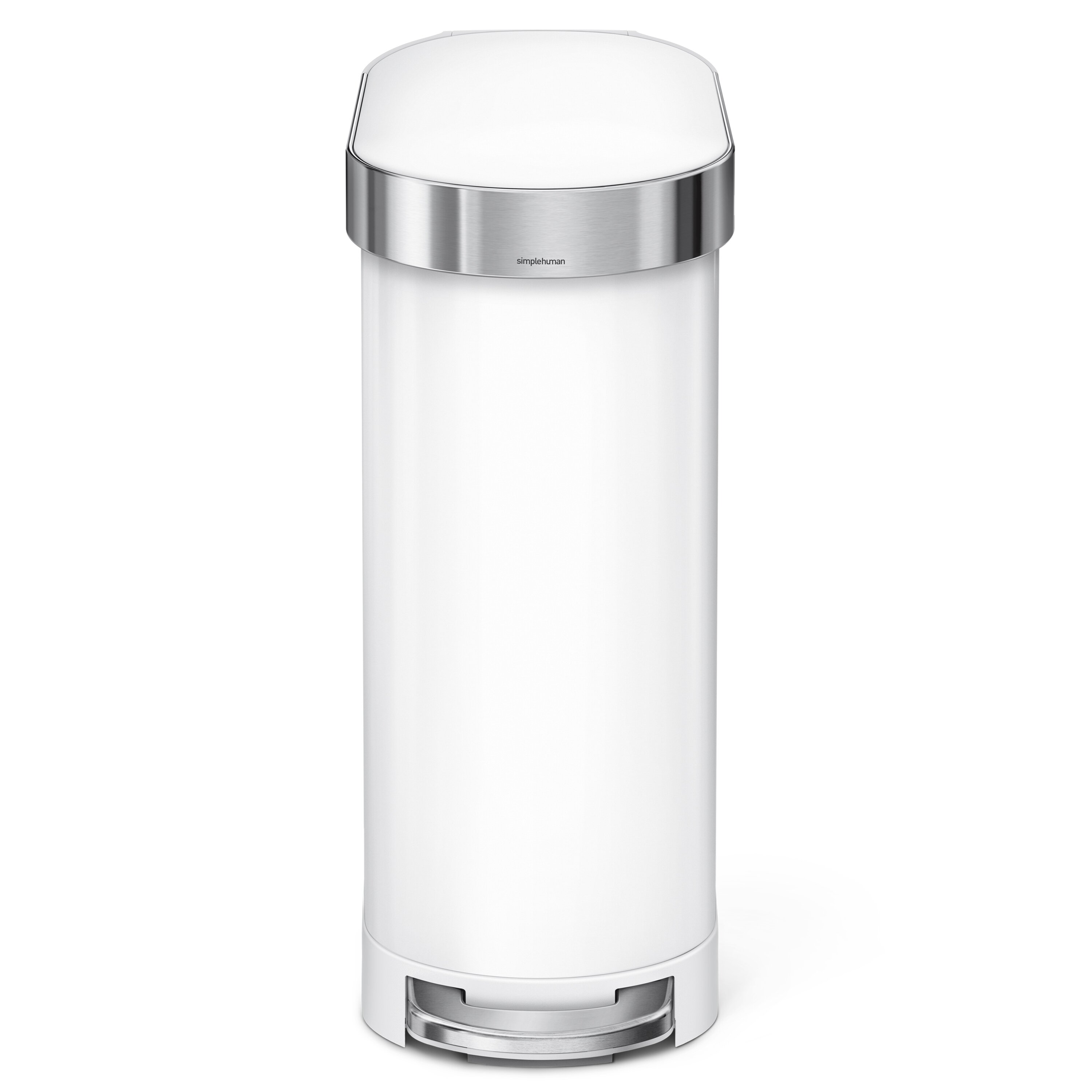 . 45 Liter Slim Step Stainless Steel Trash Can with Liner Rim