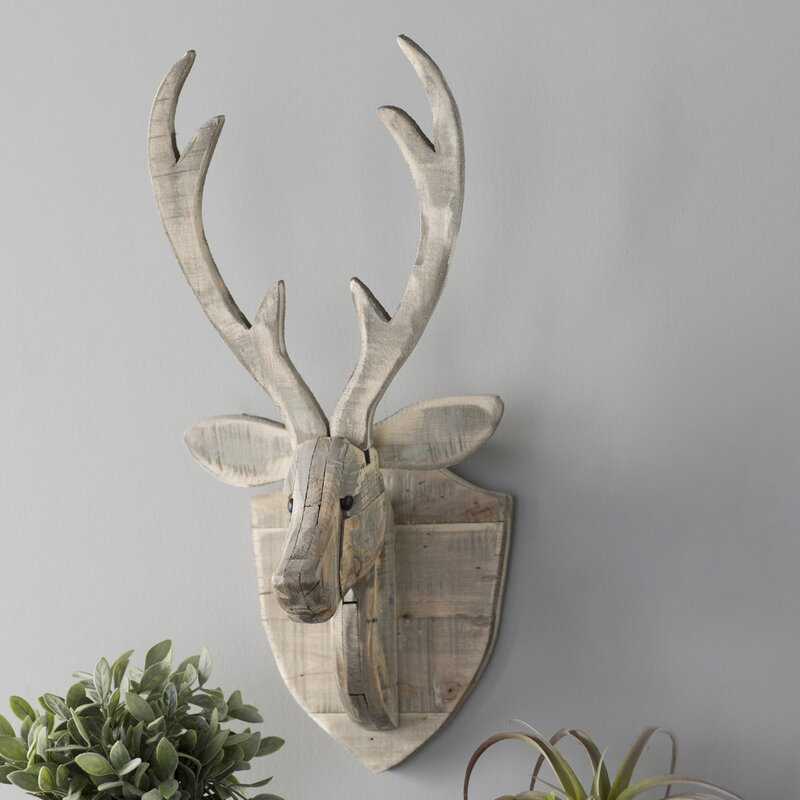 Recycled Wooden Deer Head Hanging Wall Décor