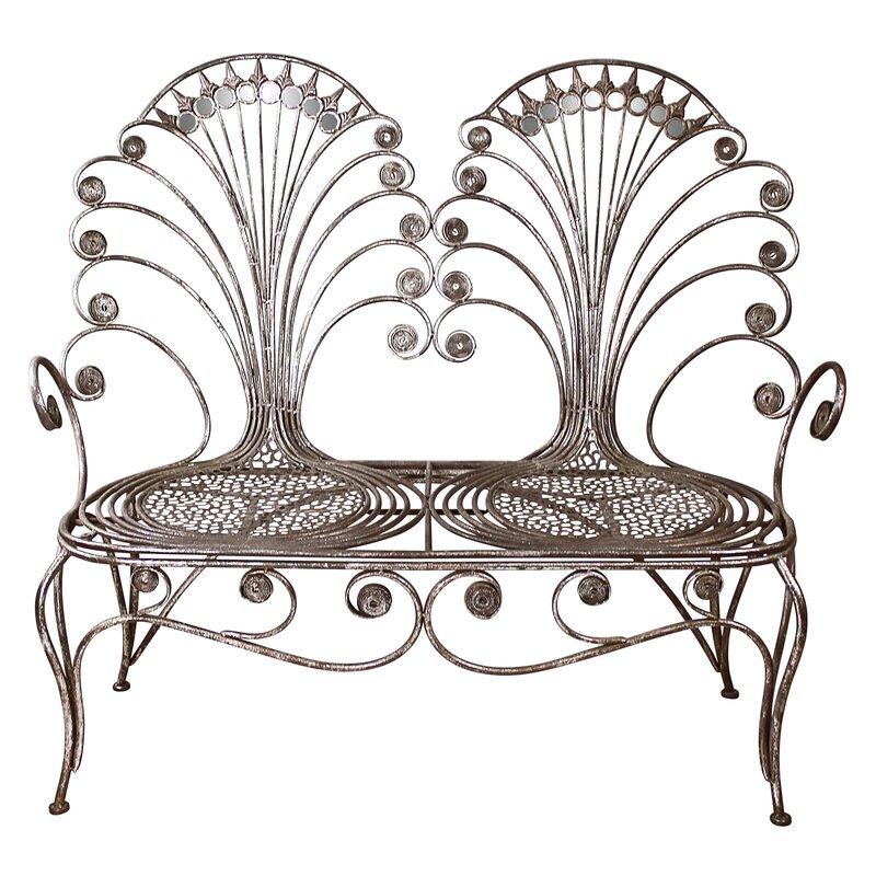 Surprising Grand Peacock Metal Garden Loveseat Bench Andrewgaddart Wooden Chair Designs For Living Room Andrewgaddartcom