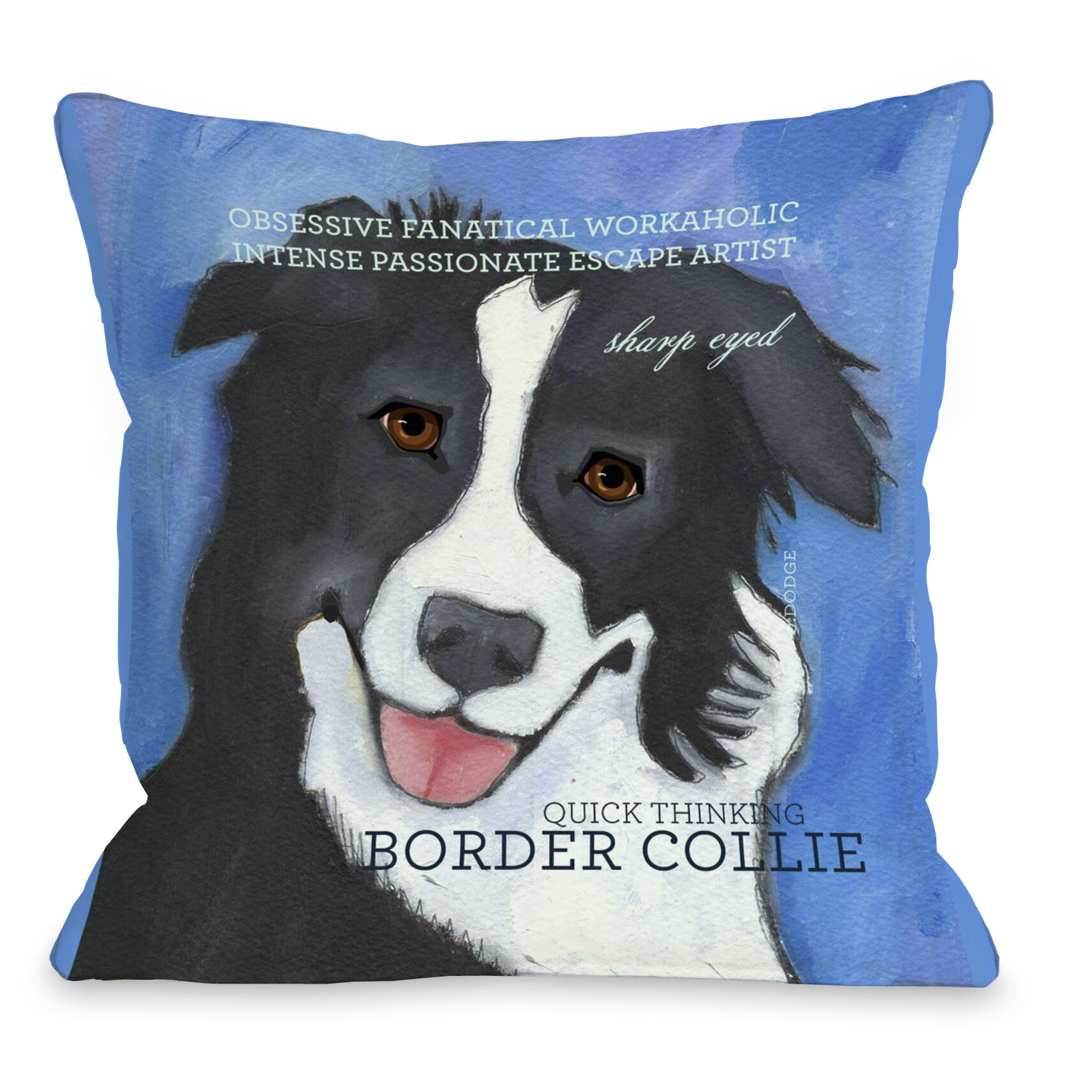 Winston Porter Kaelan Border Collie Throw Pillow Wayfair
