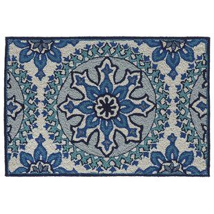 Petterson Moroccan Medallion Hand-Woven Blue Indoor/Outdoor Area Rug