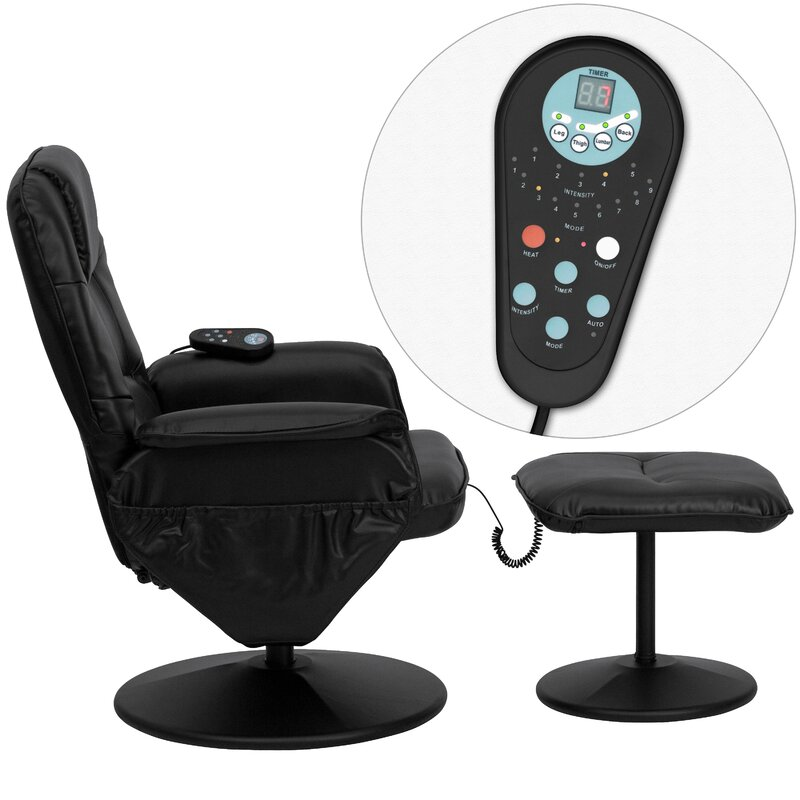 Leather Heated Massage Chair With Ottoman