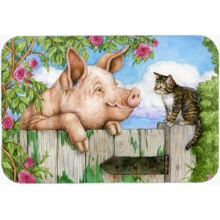 Pig at the Gate with Cat Glass Cutting Board