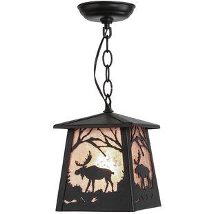 Meyda Tiffany Greenbriar Oak Moose at Dawn 1-Light Lantern Pendant