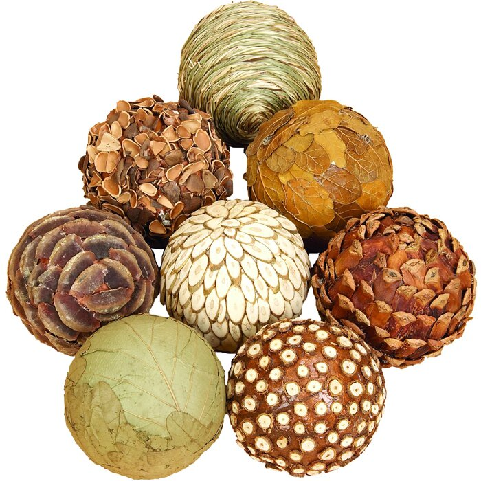 Three Posts Autumnal 8 Piece Natural Decorative Ball Set
