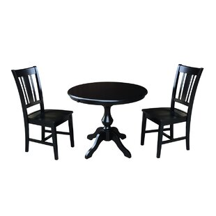 Sylvester 3 Piece Extendable Solid Wood Dining Set