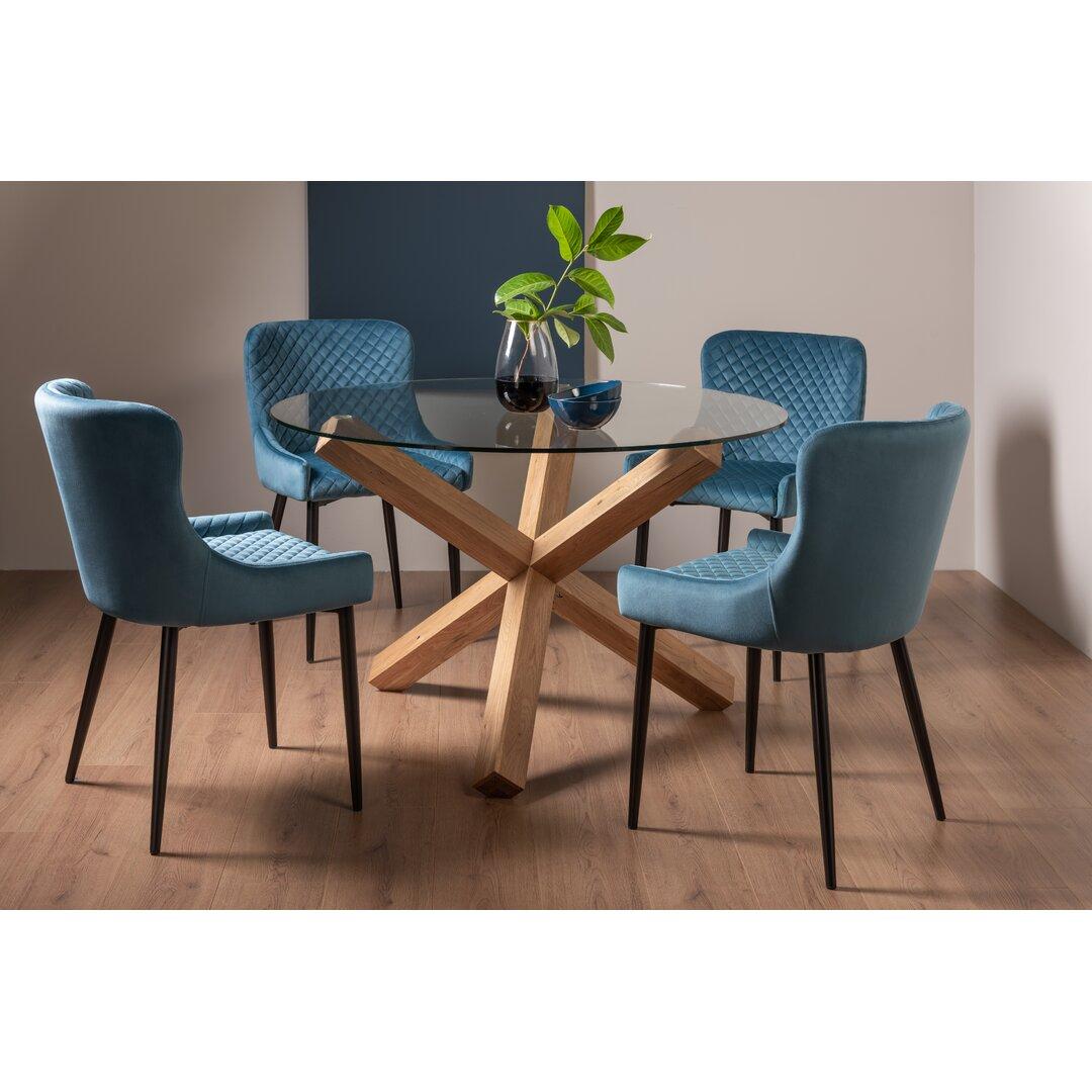 Light Oak 4 - Person Glass Dining Set